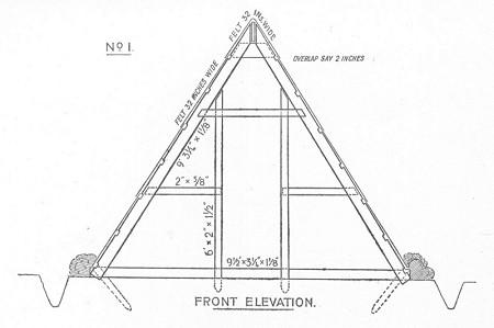 Diagram of Rennie hut front elevation