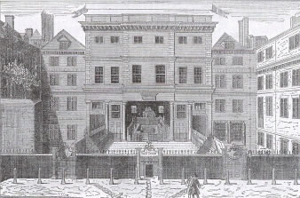 A view of the Sessions House from around 1675, showing the open courtroom.  In the front is the bail dock, enclosed by walls topped with spikes. From Walter Thornbury, Old and New London: A Narrative of Its History, Its People, and Its Places (5 vols, London, 1873-78), vol.2, p.451. The image is misdated to 1750 in this volume.  Reproduced courtesy of and with thanks to the University of Sheffield.