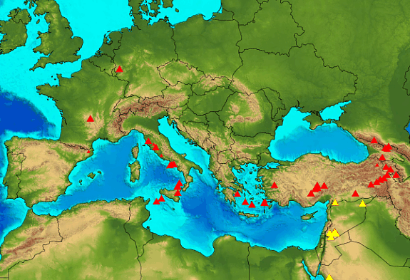 Map of Volcanoes of the Mediterranean and western Asia