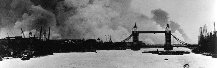 Smoke from the West India Docks, ablaze after a Luftwaffe raid 7th September 1941