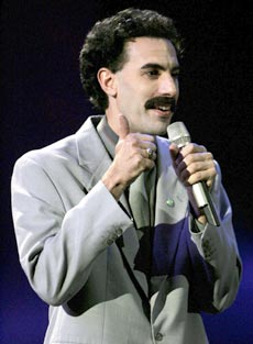 British comic Sacha Baron Cohen, in character as Kazakh TV personality Borat, hosted the annual MTV Europe Music Awards in Lisbon on Nov. 3, 2005. (Getty Images)