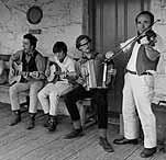 Photo of musicians playing bush music at Emu Bottom, 1971.