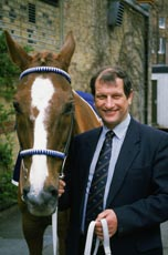 GREAT BRITAIN - APRIL 17 : A portrait of Bob Champion and Aldaniti the Horse during a photo call for the Bob Champion Cancer Trust in Great Britain on the 17th of April 1996.(Photo By Dave Sanderson/Getty Images)