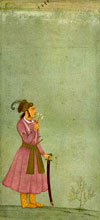 The Mughal Emperor Akbar depicted as a boy holding a sword and smelling a spray of flowers