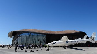 The WhiteKnightTwo and SpaceShipTwo spacecraft at the Spaceport