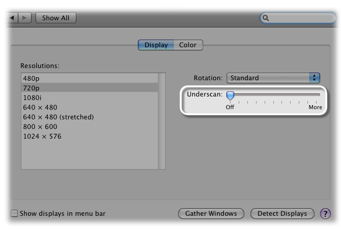Display System Preferences pane with underscan slider