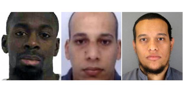Amédy Coulibaly et les frères Kouachi (Chérif au centre, Saïd à droite)
