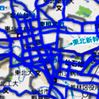 An electronic map put together by Honda Motor Co. on the Internet shows unclosed roads in blue and closed roads in gray after the March 11, 2011, Great East Japan Earthquake. (Provided by Honda Motor Co.)