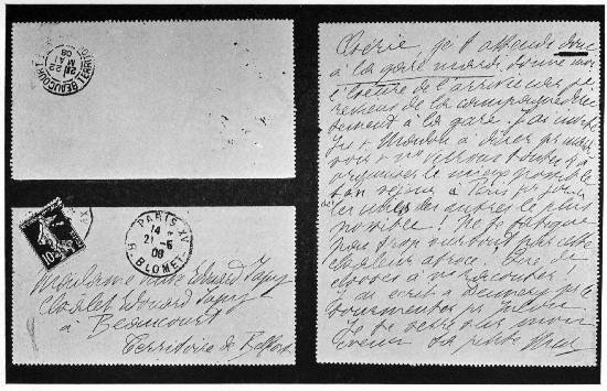FAC-SIMILE OF THE LETTER I SENT TO MY MOTHER, AT BEAUCOURT A FEW DAYS BEFORE THE CRIME