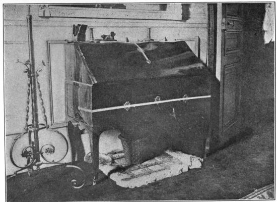 THE DESK (WITH SEALS AFFIXED) IN THE BOUDOIR, FROM WHICH THE MONEY AND THE DUMMY PARCEL OF DOCUMENTS WERE STOLEN ON MAY 30-31ST. 1906