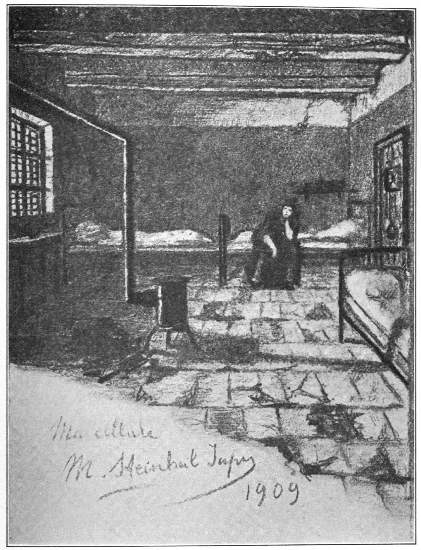 MY CELL  (Juliette, my fellow-prisoner, seated on her bed)  A sketch by Mme. Steinheil