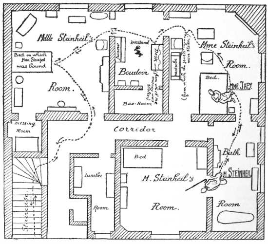 Plan of the first floor of the house in the Impasse Ronsin, where the double murder was committed. Dotted line shows probable movements of the assassins.