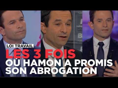 """Trois fois où Benoît Hamon a promis qu'il """"abrogerait"""" la loi Travail"""