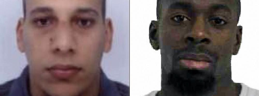 Des photos non datées de Chérif Kouachi et Amedy Coulibaly, diffusées par la police les 8 et 9 janvier 2015.