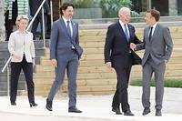 Ursula von der Leyen, Joe Biden,Emmanuel Macron et Justin Trudeau lors du G7 en Cornouailles, le 11 juin 2021.