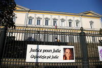 """A picture taken on June 10, 2021 shows a banner reading """"Justice for Juie"""" displayed by Donne de Corsica association before the start of the trial of Bruno Garcia-Cruciani for the murder of Julie Douib at the courthouse of Bastia  on the French Mediterranean island of Corsica - The trial of the ex-boyfriend of Julie Douib opens in Bastia for the murder of the young woman in 2019 in Ile-Rousse, a feminicide that had prompted an unprecedented mobilisation and led to the organisation of a forum on violence against women. (Photo by Pascal POCHARD-CASABIANCA / AFP), A picture taken on June 10, 2021 shows a banner reading """"Justice for Juie"""" displayed by Donne de Corsica association before the start of the trial of Bruno Garcia-Cruciani for the murder of Julie Douib at the courthouse of Bastia on the French Mediterranean island of Corsica - The trial of the ex-boyfriend of Julie Douib opens in Bastia for the murder of the young woman in 2019 in Ile-Rousse, a feminicide that had prompted an unprecedented mobilisation and led to the organisation of a forum on violence against women. (Photo by Pascal POCHARD-CASABIANCA / AFP)"""