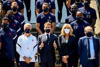 Macron est allé rendre visite aux Bleus à Clairefontaine, le 10 juin dernier.