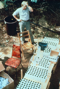 The thousands of sampling ports in the subsurface sampling array used for the large-scale, natural-gradient tracer test created a mind-boggling number of water samples. In later stages of the test over 4,000 samples were collected during sampling field trips (circa 1985 to 1986)
