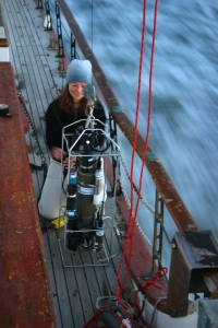 USGS scientist preparing a submersible instrument package that is used to collect water-quality data on the San Francisco Bay, Calif., during a cruise of the USGS Research Vessel Polaris. The instrument includes sensors for measuring depth, conductivity, temperature, suspended solids, chlorophyll, light penetration, and dissolved oxygen