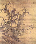 A traveller reading the stele by rocks , Chinese painting