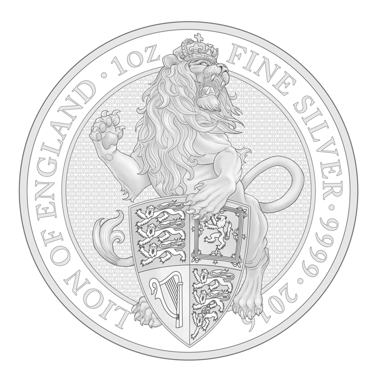 queen's beasts lion of england silver bullion coin sketch