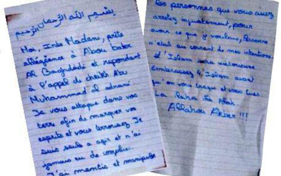 La lettre d'allégeance à Daech écrite par Inès Madani et retrouvé dans l'appartement de Boussy-Saint-Antoine.