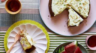 One-layer lime, raspberry and coconut cake