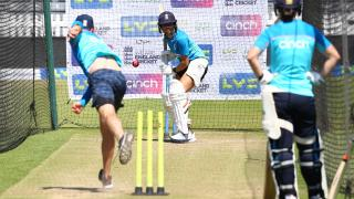 Sophia Dunkley, of England, prepares for the Test starting today in Bristol, which takes place on an old T20 men's pitch