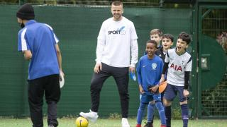 England footballer Eric Dier seeing how Times charity appeal money is being spent at HR Sports Academy in Tottenham, north London