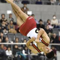 Kenzo Shirai competes in the floor exercise at the Toyota International Gymnastics Competition on Saturday. Shirai won the event for the third consecutive year.   KYODO