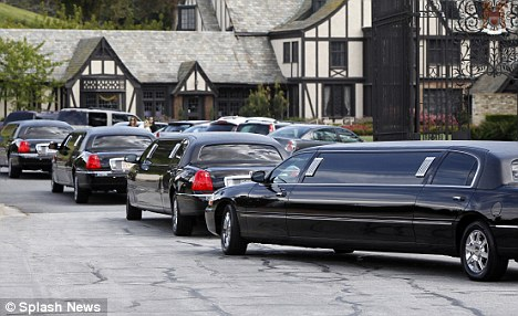 What's in the will? A fleet of limousine's arrives at Forest Lawn Memorial Park for Liz Taylor's funeral