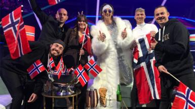 TIX and his team from Norway in the green room of the Eurovision Song Contest.