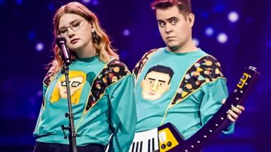 Members of Iceland's Eurovision 2021 entry perform during rehearsals