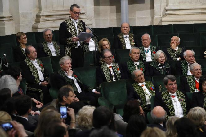Discours de réception de l'écrivain Andreï Makine sous la coupole de l'Académie française, à Paris, en décembre 2016.
