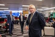 Le premier ministre, Boris Johnson,visite le bureau des affaires étrangères, du Commonwealth et du développement, à Londres, le 27 août 2021.