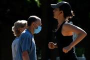 Un joggeur dans le parc du Retiro, dans le centre de Madrid, le 26 juin 2021.
