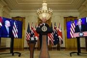 Visioconférence réunissant Joe Biden, Scott Morrison (Australie) et Boris Johnson, le 15 septembre 2021, depuis la Maison Blanche, à Washington.