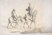 Don Quichotte et Sancho Pansa, dessin d'Honoré Daumier, XIXe siècle.