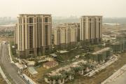 Vue d'une partie du complexe immobilier construit par Evergrande, à Jurong, dans la province du Jiangsu, en Chine, le 19 octobre 2021.