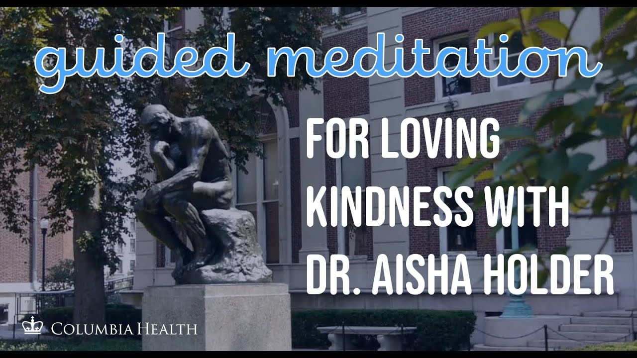 """The Thinker statue on Columbia's campus with the words """"guided meditation for loving kindness with Dr. Aisha Holder"""""""
