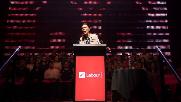 Ardern at the podium during Labour's campaign launch at the Auckland Town Hall.