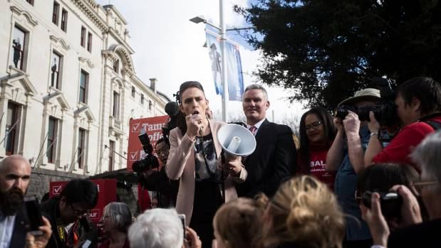 Jacinda-mania in action, outside Auckland Town Hall last Sunday.