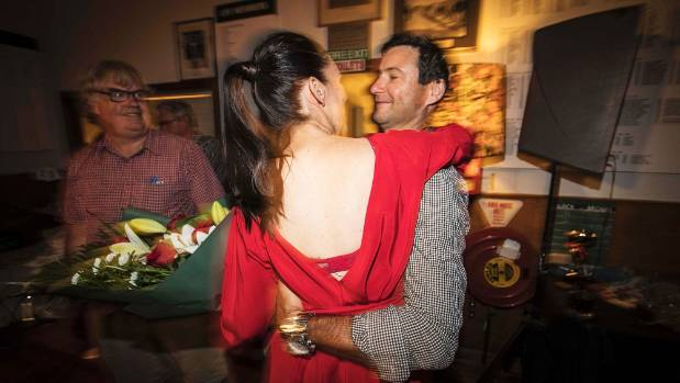 Ardern with partner Clarke Gayford, celebrating her Mt Albert byelection win earlier this year.