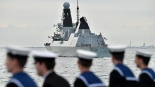 The HMS Defender, seen here off the coast of England in 2019, has been carrying out missions in the Black Sea this month