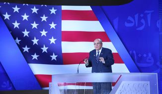 Former New York City Mayor Rudy Giuliani, a close friend of President Trump's, addresses a gathering of a Free Iran conference on July 13, 2019, in Tiran, Albania. (Photo provided to The Washington Times courtesy of event organizers.)
