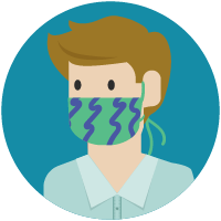 Person with cloth face covering