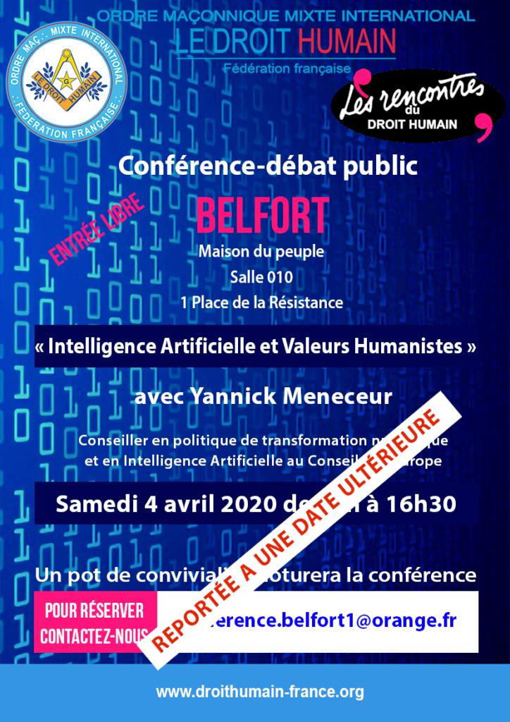 Conférence publique à Belfort le 4 avril 2020