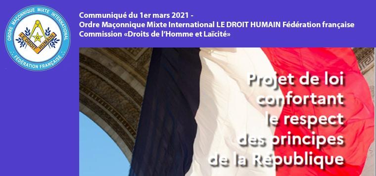 Communiqué sur la loi confortant le respect des principes de la République - 1er mars 2021