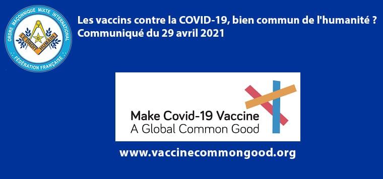 Les vaccins contre la COVID-19, bien commun de l'humanité ? Communiqué du 29 avril 2021