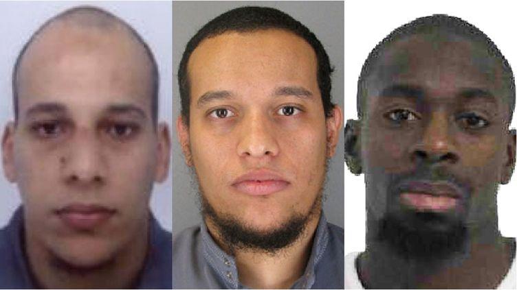 """Les deux auteurs de l'attentat contre """"Charlie Hebdo"""", Chérif Kouachi(G) et Saïd Kouachi (C), et l'auteur des fusillades de Montrouge (Hauts-de-Seine) et de la porte deVincennes, Amedy Coulibaly. (POLICE NATIONALE)"""